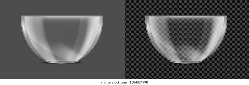Glass transparent salad bowl. Vector realistic image.