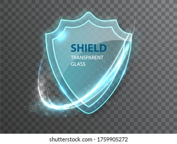 Glass transparent shield. Protective glass shield with reflection and glow on transparent background. Realistic 3d
