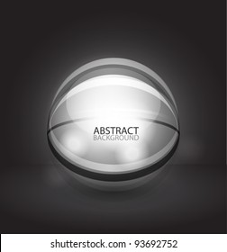 Glass transparent sphere with sample text