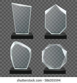 Glass transparent trophy awards.