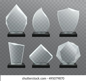 Glass transparent trophy  awards with dark stand.