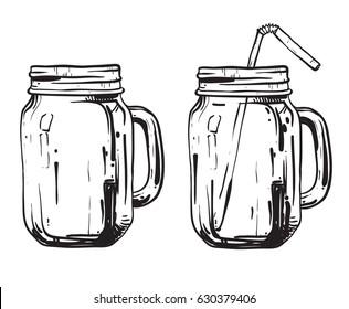 Glass transparent vintage doodle mason jar Isolated on the white background. Vector hand drawn illustration.