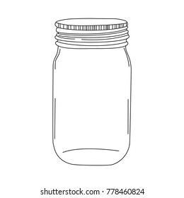 Glass transparent vintage doodle mason jar. Vector hand drawn illustration of Isolated jar