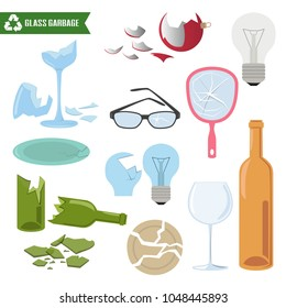 Glass trash on white background. Ecology and recycle concept. Vector Illustration.