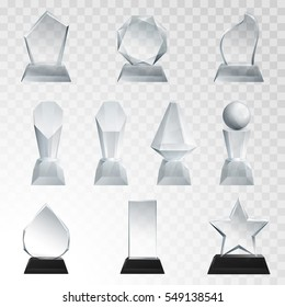 Glass trophies plaque engraved crystal award realistic vector illustration on transparent background