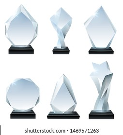 Glass trophy award. Acrylic awards, crystal shape trophies and winner award glassy board transparent. Winning certificate trophy, sport prizes cup. Realistic isolated icons vector set