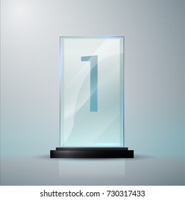 Glass Trophy Award. First place Prize plaque. Glass trophy mockup stand on clear  base. Realistic vector transparent object 10 eps. Vector illustration