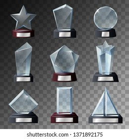 Glass trophy, award and prize 3d vector templates with dark bases. Crystal winner cups in a shapes of star and geometric figures on transparent background. Sport championship and achievement gifts