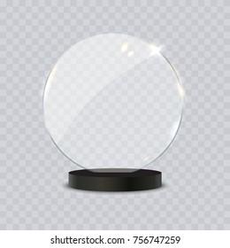 Glass trophy award vector realistic 3d illustration on transparent background
