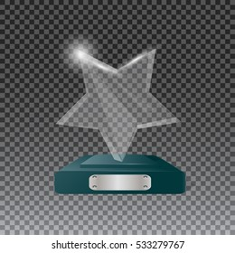 Glass trophy awards vector illustration. The transparent trophy for award.