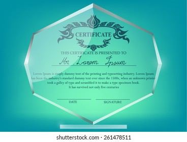 Glass Trophy Certificate Design Template On Green BackgroundThai Art