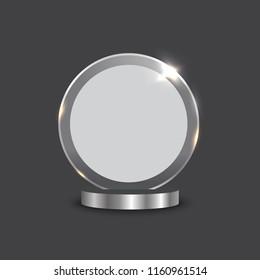 Glass trophy mockup 3D realistic vector illustration. Empty award design mock up. Transparent crystal prize plate template, premium first place prise plaque