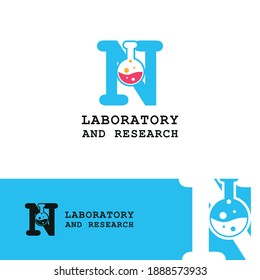 glass tube chemistry on initial letter N for laboratory and research logo concept