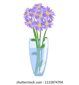 Glass Vase with flowers vector isolated on white background. Modern transparent made of glass vase or cup. Vector Illustration