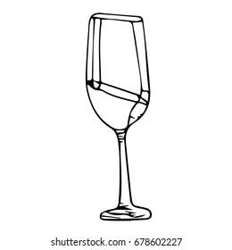 Glass vector illustration on white background. Doodle style. Design icon, print, logo, poster, symbol, decor, textile, paper, card.