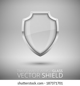 Glass Vector Shield, glossy armorglass on gray background