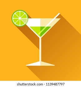 Glass for vermouth icon in flat style, wineglass on color background. Alcohol cocktail with lime and straw. Vector design elements for you business project