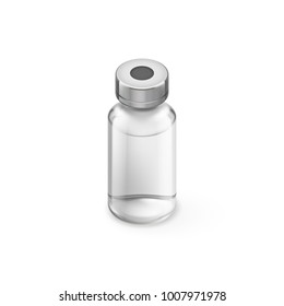 Glass Vial of In Injection Solution on white Background. Medications Diabetic