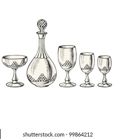 Glass - vintage engraved illustration - Catalog of a French department store - Paris 1909