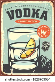 Glass of vodka with lemon slice retro poster decoration for cafe bar or pub. Alcoholic drink vintage sign vector template.