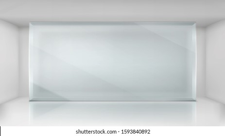 Glass wall frame in empty exhibition room. Vector realistic transparent showcase for museum, gallery or presentation. Exposition hall interior
