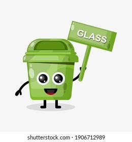glass waste trash board flat design character