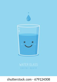 Glass of water with cartoon smiley face vector illustration