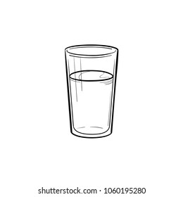 Glass of water hand drawn outline doodle icon. Vector sketch illustration of glass of fizzy water for print, web, mobile and infographics isolated on white background.