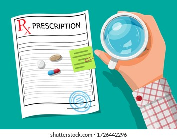 Glass of water in hand, prescription, pills, capsules for illness and pain treatment. Taking medication concept. Medical drug, vitamin, antibiotic. Healthcare and pharmacy. Flat vector illustration