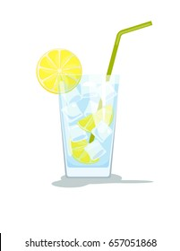 Glass of water with ice and lemon. Glass of cocktail with straw. Vector illustration  isolated on white background