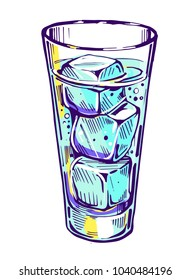 Glass with water and ice. Vector illustration