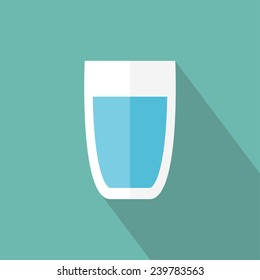 Glass of water icon. Flat icon with long shadow. Vector illustration