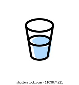 Glass of Water Icon Vector, Flat Design