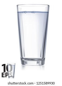 Glass with water isolated. Realistic Vector 3d illustration