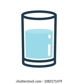 Glass of water line color icon.
