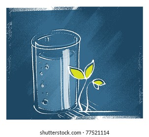 glass of water and a little green plant, freehand drawing, vector