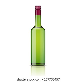 Glass whiskey bottle with screw cap. Vector illustration. Glass bottle collection, item 3.