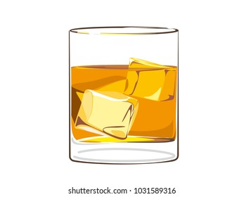 Glass of Whiskey with ice realistic vector illustration, the image can be variable, re sizable.
