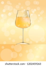 Glass of wine or beer or champagne vector illustration for web and print. Nice vine card cover or menu template good for flaers and mockups yellow background.