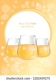 Glass of wine or beer or champagne vector illustration for web and print. Nice vine card cover or menu template good for flaers and mockups.