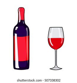 Glass of wine and wine bottle. Red wine. Alcohol. Cartoon style. Design element wine. Hand drawing wine. Vector illustration red wine. Red wine glass. Red wine bottle. Alcohol design element.