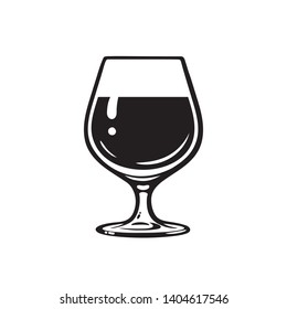 Glass of wine, brandy, cognac or whiskey. Wineglass icon. Snifter beer glass. Vector illustration isolated on white background.