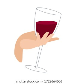 a glass of wine in the hand. female hand holds a glass of red wine. alcoholic drink in a glass. illustration in flat style on a white background. a full glass of wine in the graceful hand of a girl.