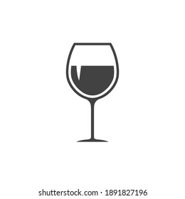 Glass wine icon. Drink silhouette symbol. Vector isolated on white