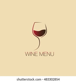 Glass of wine. Icon, symbol, logo alcohol. For the menu, bar, restaurant, wine list. minimal.