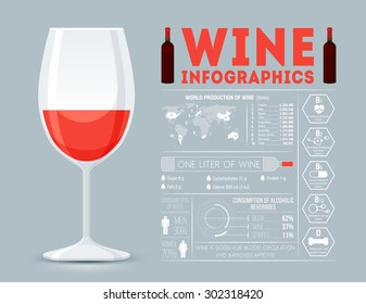 Glass of wine with infographic block.