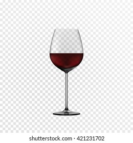 Glass wine glass with red wine. The effect of transparency for any color background. Vector eps10.