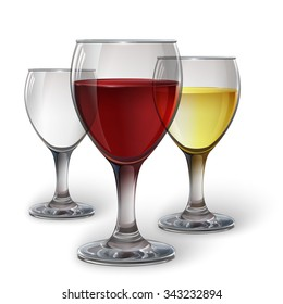 Glass wine glass with red wine, white wine, cider. A realistic, transparent, vector.