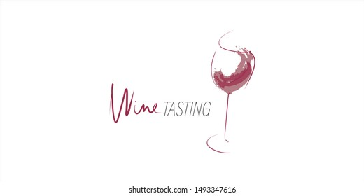 Glass of wine and splash of wine. Hand-drawn and calligraphic design elements. Vector