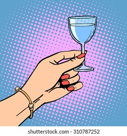 A glass of wine the woman drink a toast a celebration. Retro style pop art
